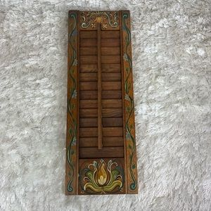 Vtg Hand Painted Tole Painting Wood Shutter 70s